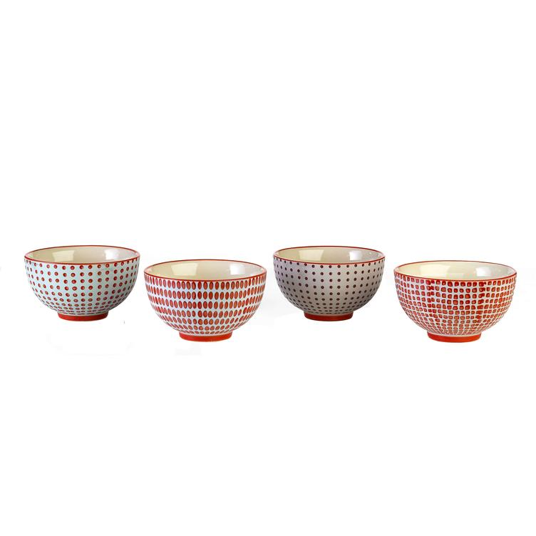 Bowls red Dotties S set4