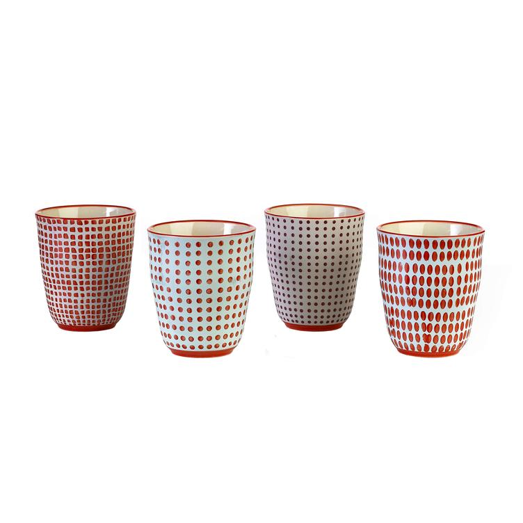 Tassen 4-Set `red dotties`